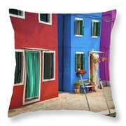 Colorful Street Throw Pillow