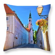 Colorful Street Of Baroque Town Varazdin  Throw Pillow