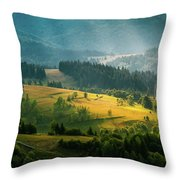 Colorful Summer Landscape In The Carpathian Mountains. Ukraine,  Throw Pillow