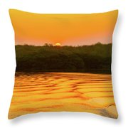 Colorful Sunrise Over Island In Galapagos Throw Pillow