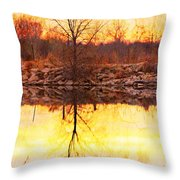Colorful Sunrise Textured Reflections Throw Pillow