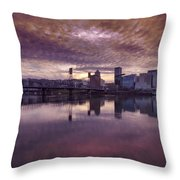Colorful Sunset Over Portland Oregon Throw Pillow