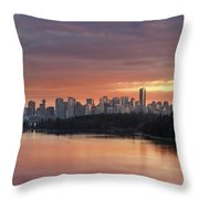 Colorful Sunset Over Vancouver Bc Downtown Skyline Throw Pillow