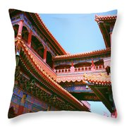 Colorful Temple Walkway Throw Pillow