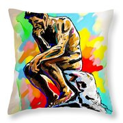 Colorful Thinker Throw Pillow