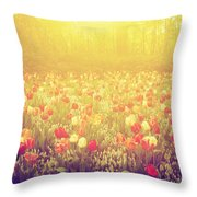 Colorful Tulip Flowers In The Garden On Sunny Day In Spring Throw Pillow