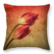 Colorful Tulips Textured Throw Pillow