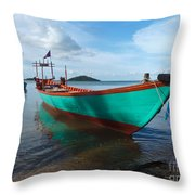 Colorful Turquoise Boat Near The Cambodia Vietnam Border Throw Pillow