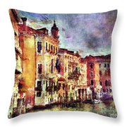 Colorful Venice Canal Throw Pillow