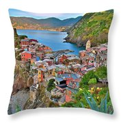 Colorful Vernazza From Behind Throw Pillow