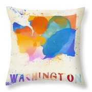 Colorful Washington State Map Throw Pillow