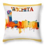 Colorful Wichita Skyline Silhouette Throw Pillow