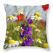 Colorful Wild Flowers Nature Scene Throw Pillow