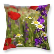 Colorful Wild Flowers Nature Spring Scene Throw Pillow