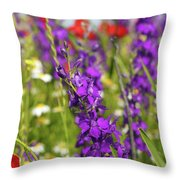 Colorful Wild Flowers Spring Scene Throw Pillow