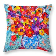 Colorful Wildflowers - Abstract Floral Art By Ana Maria Edulescu Throw Pillow