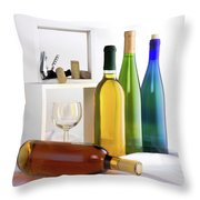 Colorful Wine Bottles Throw Pillow