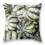 Colorful Winter Acorn Squash On Display Throw Pillow