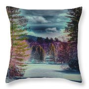 Colorful Winter Wonderland Throw Pillow