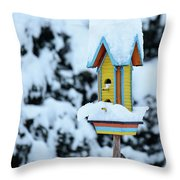 Colorful Wooden Birdhouse In The Snow Throw Pillow