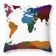 Colorful World Map Throw Pillow