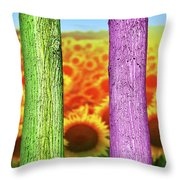 Colorfull Tree Trunks In Thefield. Abstract Psychedelic Colors Throw Pillow
