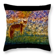Colorized Death Valley Coyote Throw Pillow
