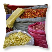 Colors In A Chinese Market Throw Pillow