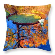 Colors Of Fall On The Lily Pond Throw Pillow