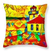 Colors Of Lime Kiln Lighthouse Throw Pillow