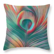 Colors Of The Rainbow Peacock Feather Throw Pillow