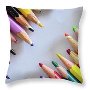 Colors. Old Pencils Throw Pillow