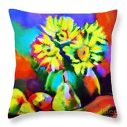Colors, Pears And Flowers Throw Pillow