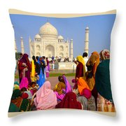 Colorful Saris At Taj Mahal Throw Pillow