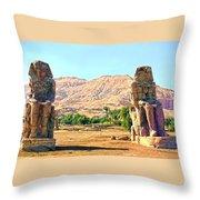 Colossi Of Memnon Throw Pillow