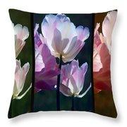 Coloured Tulips Throw Pillow
