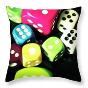 Colourful Casino Dice  Throw Pillow