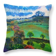Colourful English Devon Landscape - Early Evening In The Valley Throw Pillow