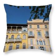 Colourful Facade Of Traditional Buildings In Como, Italy Throw Pillow