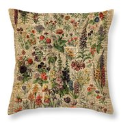 Colourful Meadow Flowers Over Vintage Dictionary Book Page  Throw Pillow