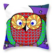 Colourful Owl Throw Pillow