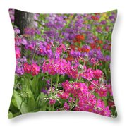 Colourful Primula Candelabra At Wisley Gardens Surrey Throw Pillow