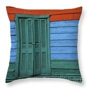 Colourful Shutters La Boca Buenos Aires Throw Pillow