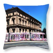 Colourful Tram At Old Treasury Building Throw Pillow