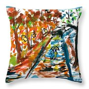 Colourfull Lovers Walking Throw Pillow