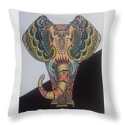 Colours In An Elephant Throw Pillow