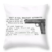 Colt .45 Automatic Pistol Throw Pillow
