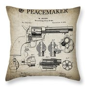 Colt .45 Peacemaker Revolver Patent  1875 Throw Pillow