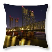 Columbia Crossing I-5 Interstate Bridge At Night Throw Pillow