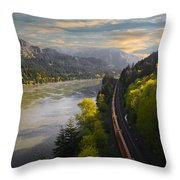 Columbia Gorge Train Throw Pillow